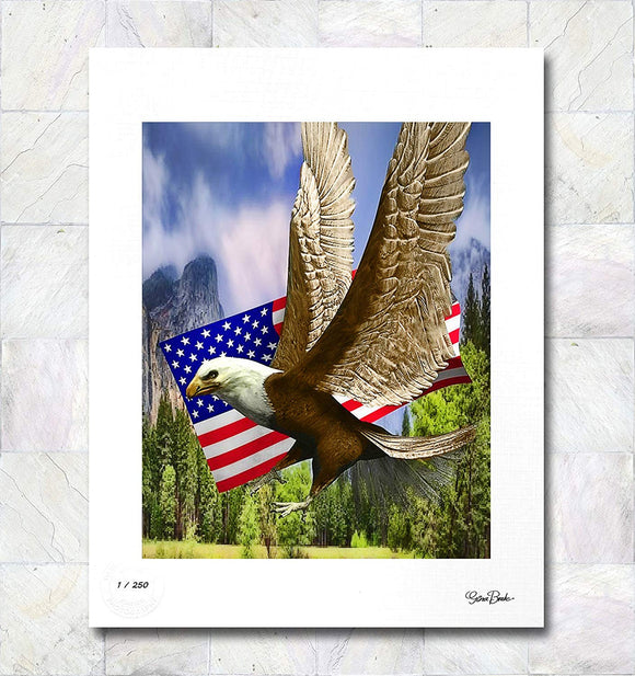 American Eagle with Flag Limited Edition Signed Fine Art Print By Gina Brake