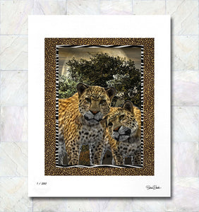 Serengetti Tenderness Leopards Limited Edition Signed Fine Art Print By Gina Brake