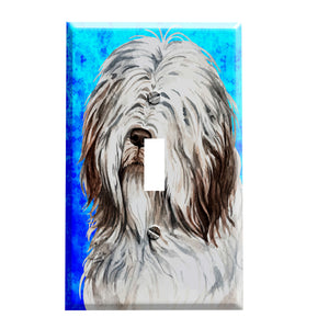 Bearded Collie Portrait Switch Plate - Dog Home Decor