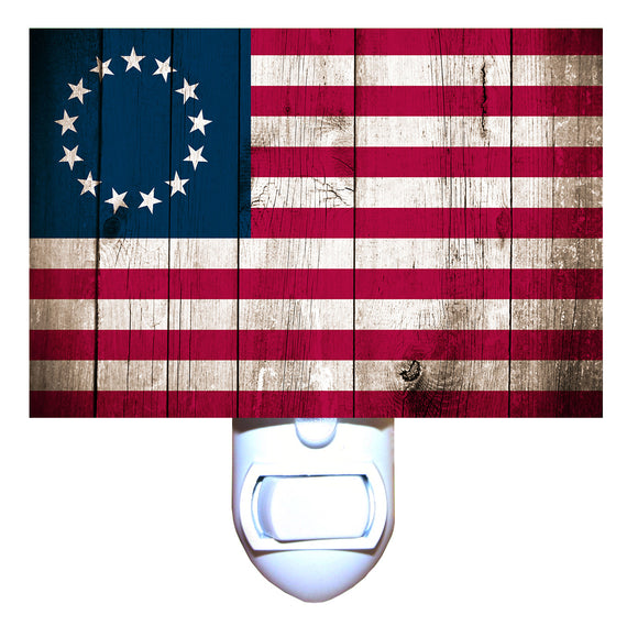 Betsy Ross Flag Rustic Night Light
