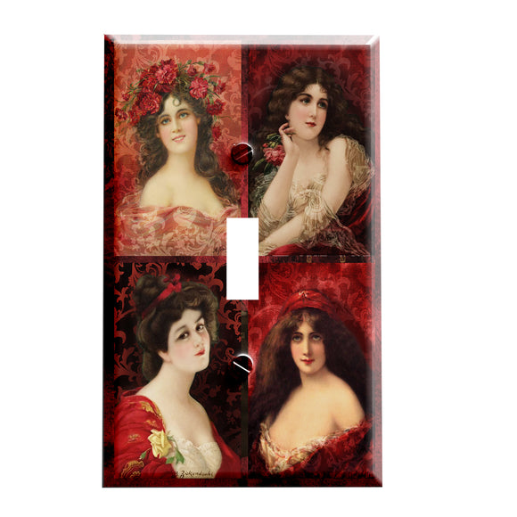 Classic Ladies in Red Switch Plate Cover - Classical Home Decor