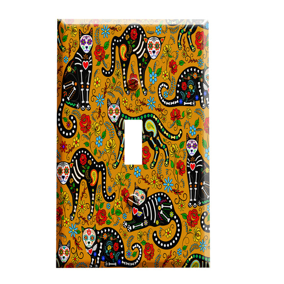 Day of the Dead Cats Switch Plate Cover - Day of the Dead Home Decor