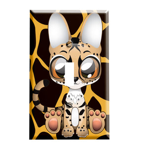 Big Eyes Little Caracal Switch Plate Cover - Children's Room Decor