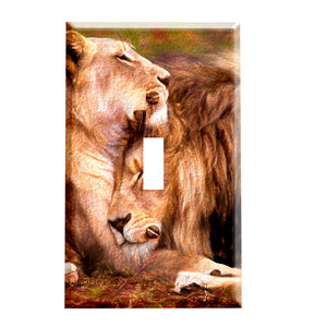 Loving Lions Switch Plate Cover - Safari Animal Home Decor