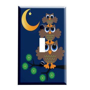 Moonlight Retro Owl Stack Switch plate