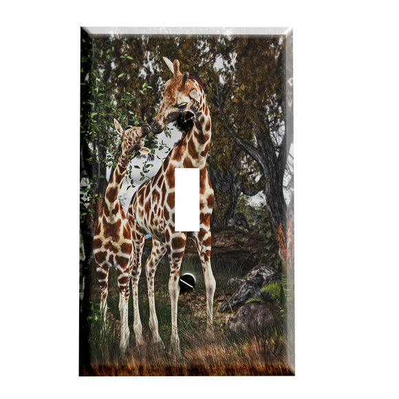 Giraffe Mother and Baby Switch plate