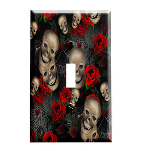 Skulls Webs and Roses Switchplate - Switch Plate Cover