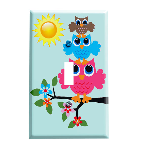 Sunny Retro Owl Stack Switch Plate Cover - Whimsical Animal Theme Home Decor