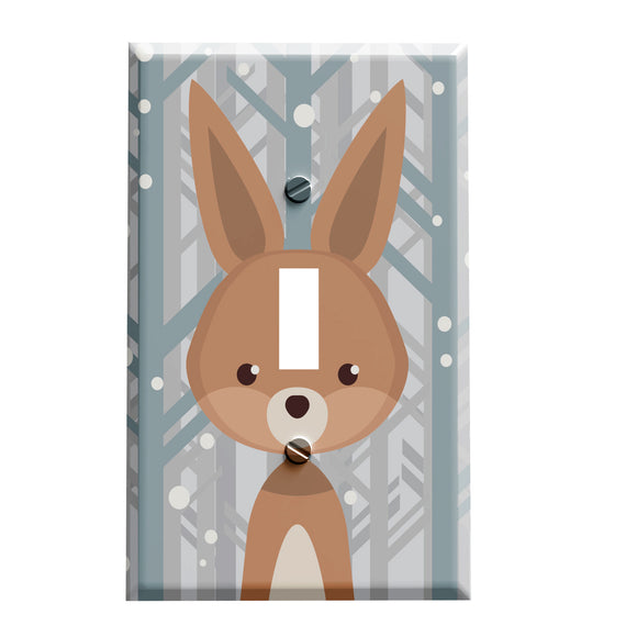 Winter Woodland Rabbit Switch Plate Cover - Woodland Animal Themed Home Decor