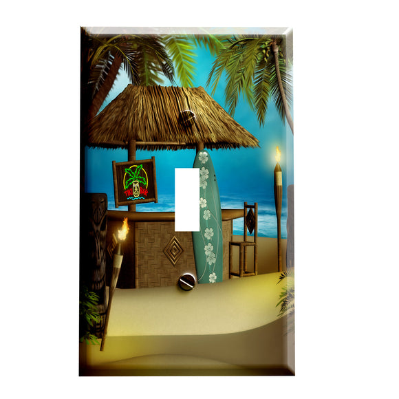 Tiki Beach Surfer Bar Switchplate - Switch Plate Cover