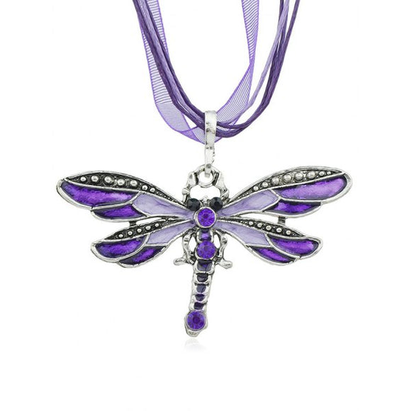 Rhinestone Butterfly Shape Rope Lace Necklace - Purple