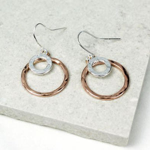 rose and silver drop hoop earrings