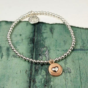 stretchy bracelet with heart charm