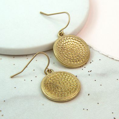 gold bobble disc earrings