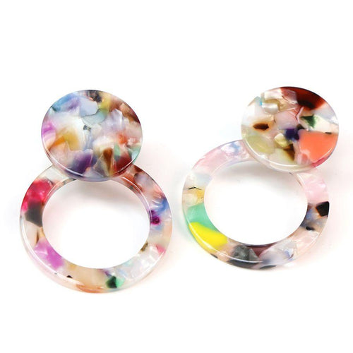 multicoloured resin earrings