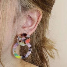 Load image into Gallery viewer, multicoloured resin earrings in ear
