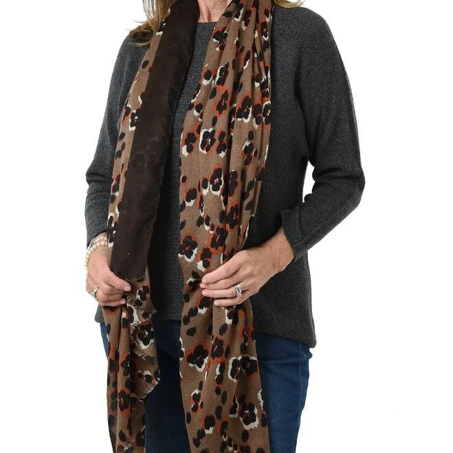 taupe floral scarf