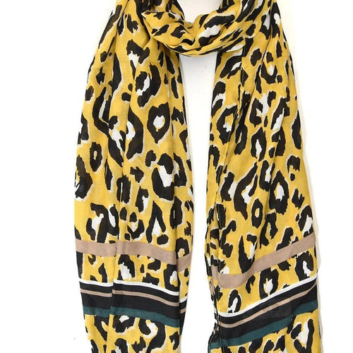 yellow leopard print scarf