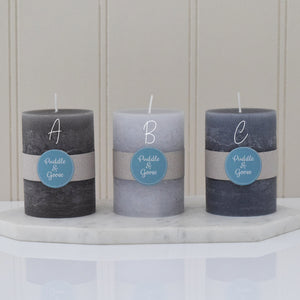 3 pillar candle ABC