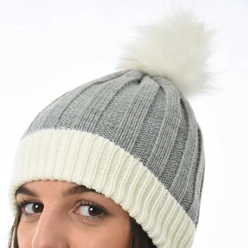 grey and white bobble hat