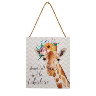 Giraffe hanging sign