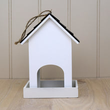 Load image into Gallery viewer, white wooden bird feeder rear