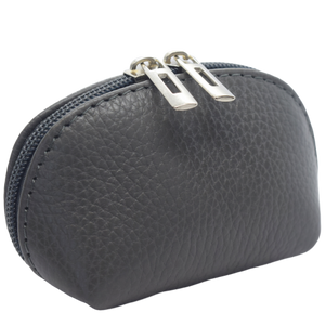 leather coin purse grey