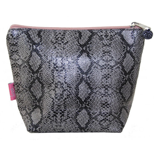 grey medium snakeskin cosmetic bag