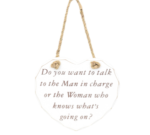 man in charge sign