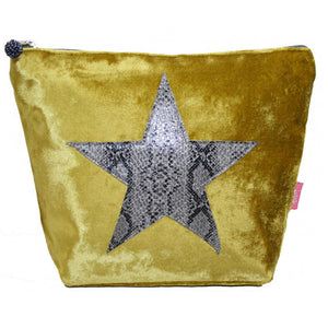 large mustard velvet cosmetic bag with applique grey snakeskin star