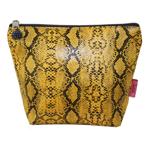 musatard snakeskin cosmetic bag