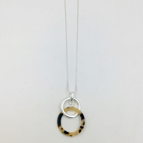 resin and silver hoops long necklace