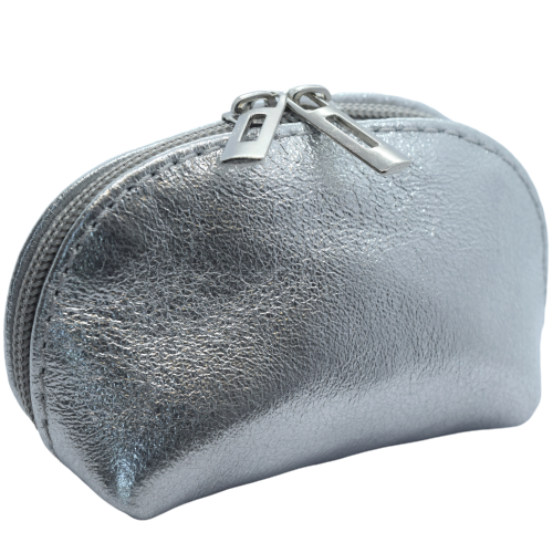 silver leather coin purse
