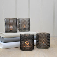 Load image into Gallery viewer, set 4 taupe glass tealight holders