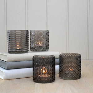 set 4 taupe glass tealight holders