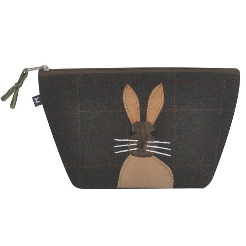 applique hare on green tweed cosmetic bag