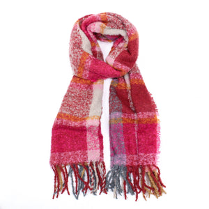 pink check winter scarf