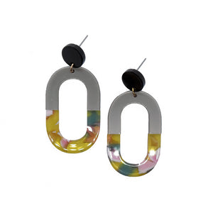 floral grey resin oval earrings