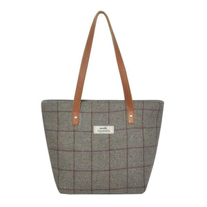 heritage tweed grey tote handbag