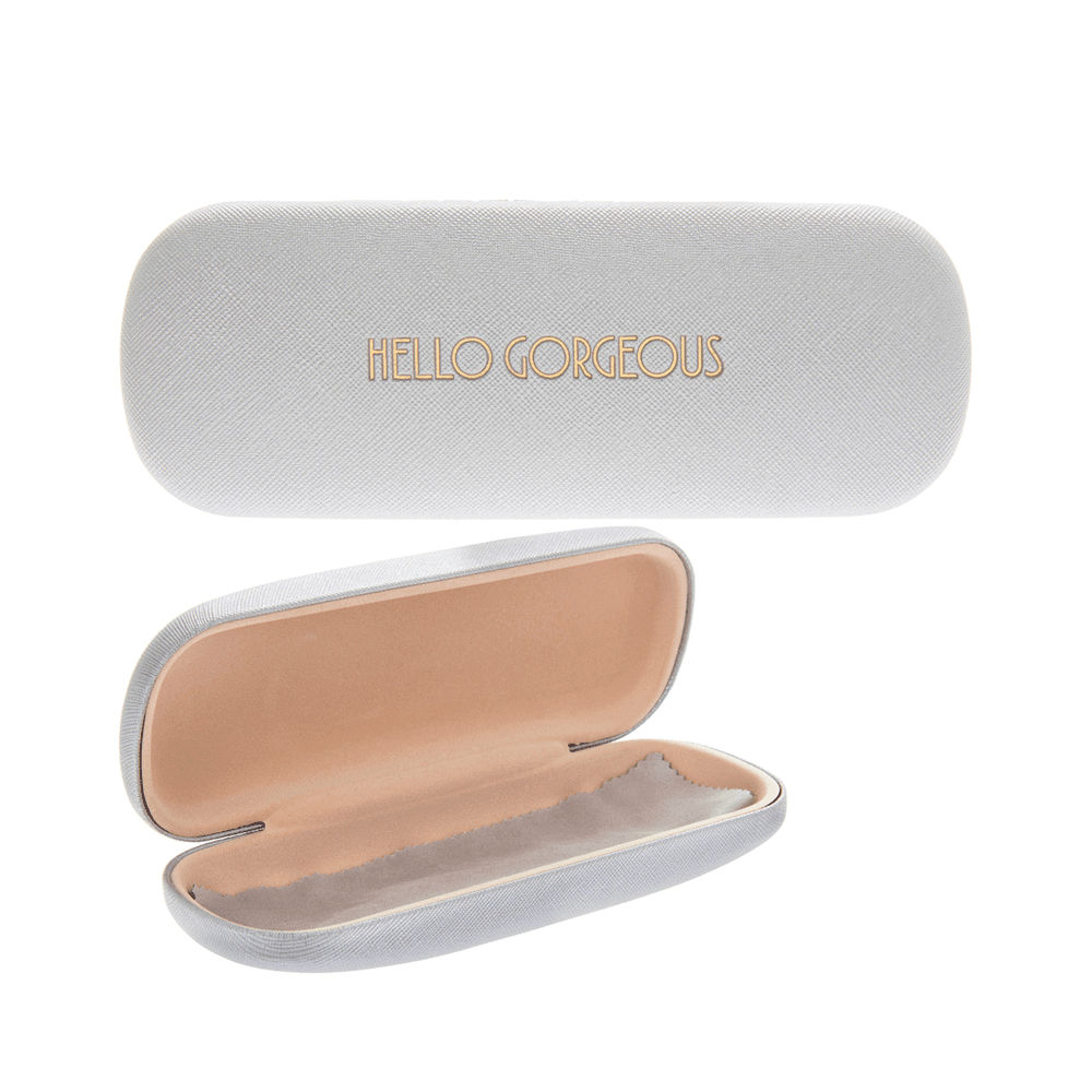 hello gorgeous silver glasses case