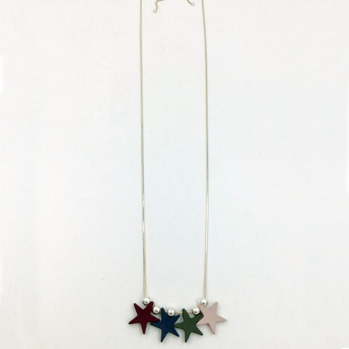coloured stars adjustable length necklace