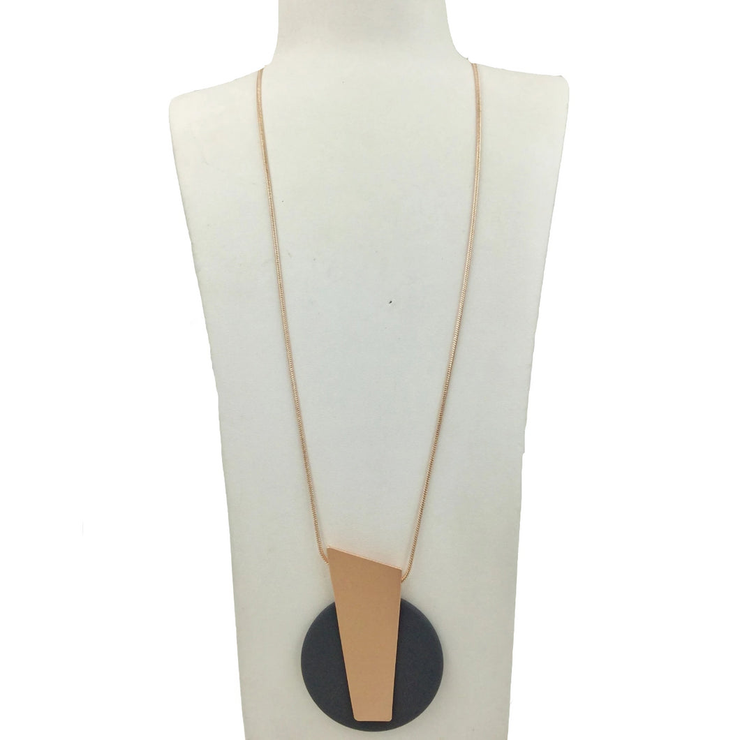grey and rose gold long disc necklace
