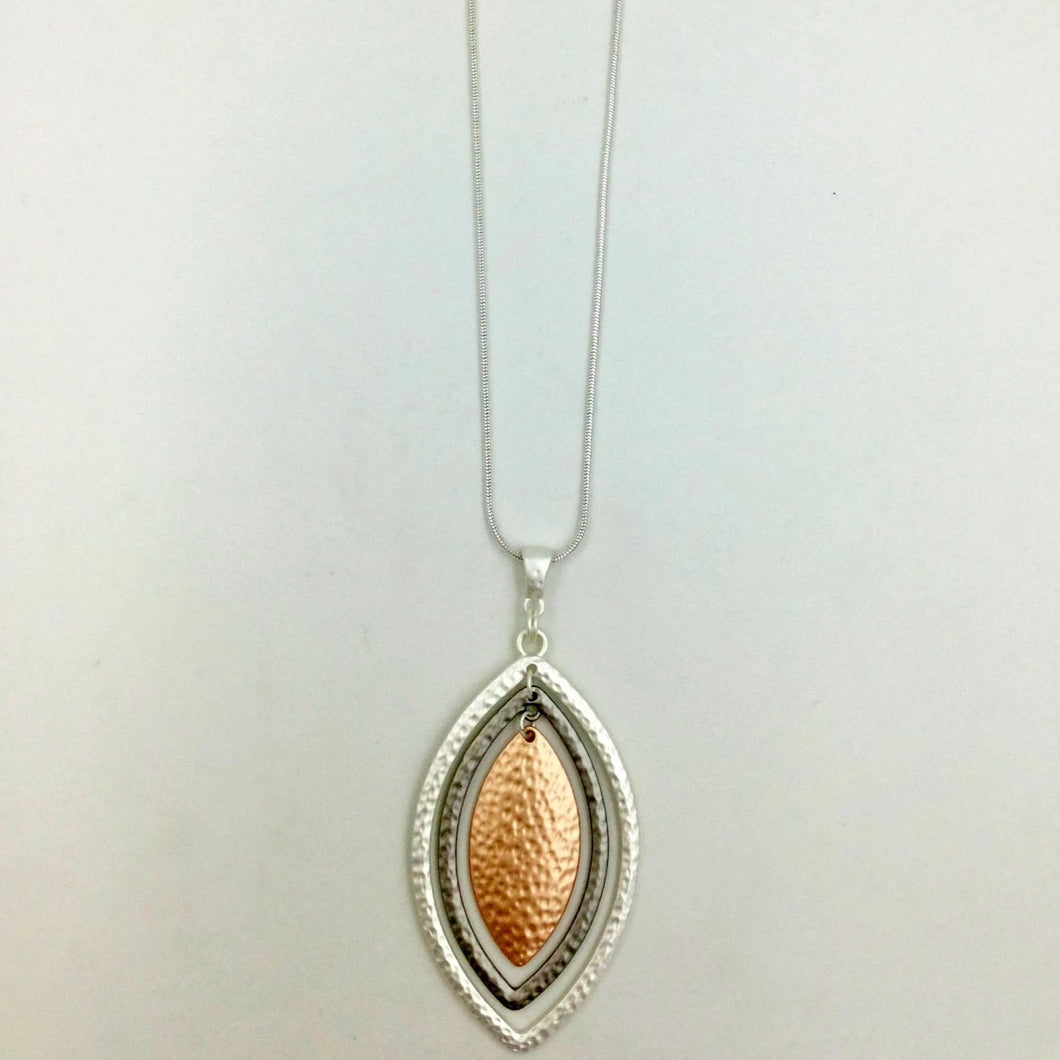 Leaf shape long necklace