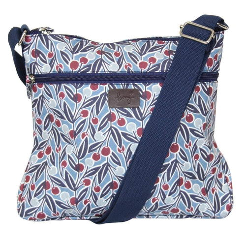 berry print messenger bag