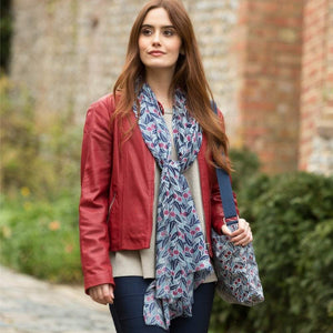 berry print scarf on model