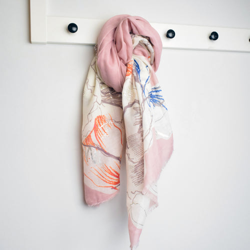 pale pink painted floral metallic scarf