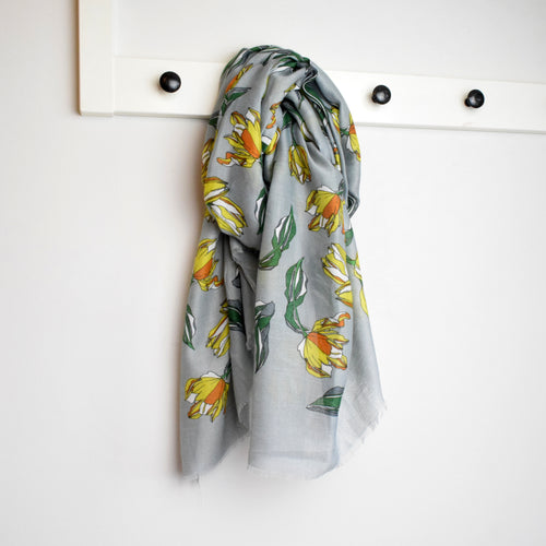 grey scarf with yellow and orange tulip print