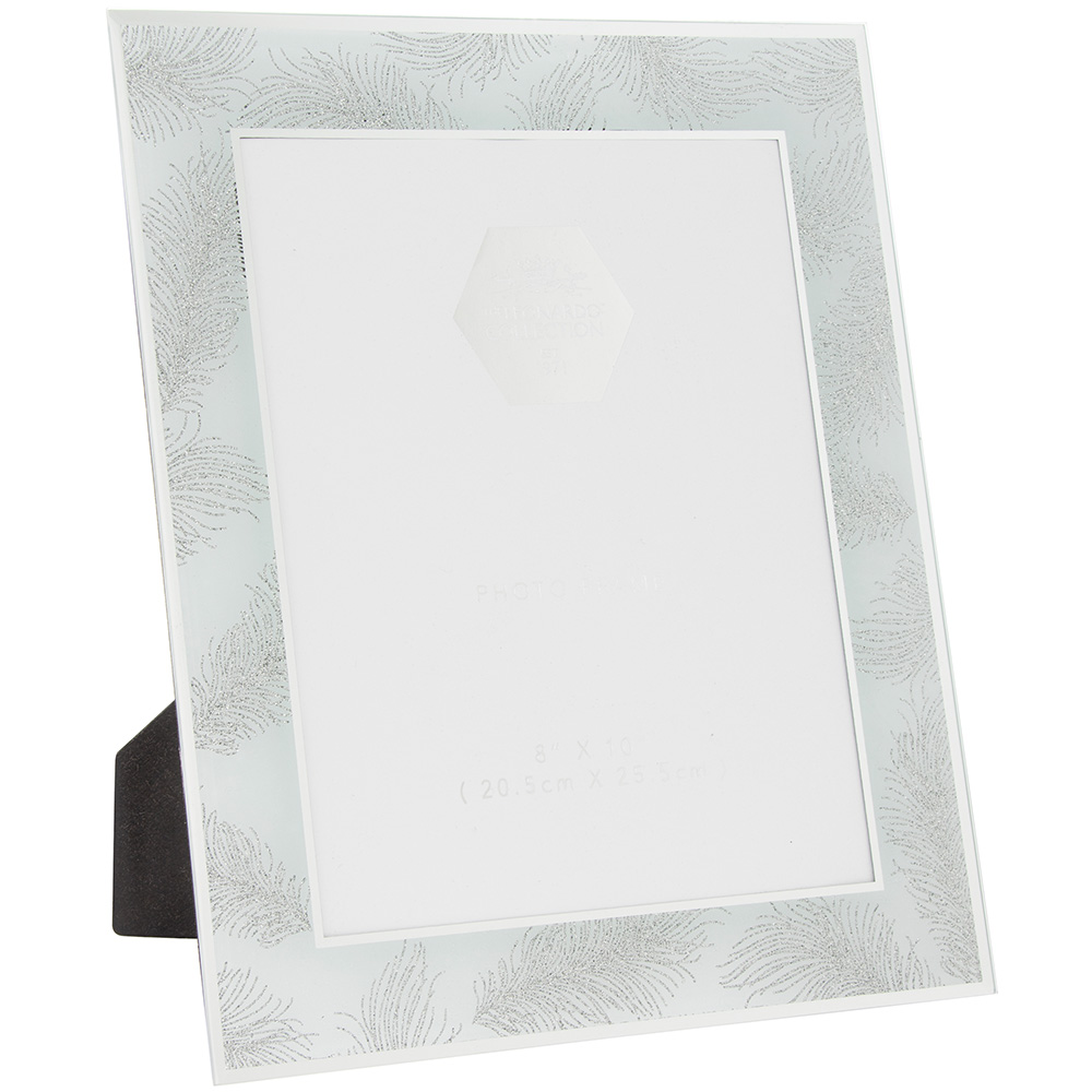 silver glitter feather 8x10 photo frame