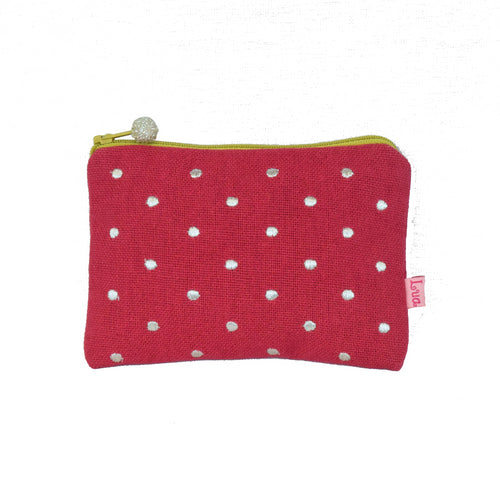 pink spot embroidered coin purse