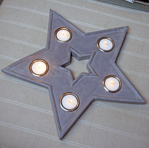 grey star multi tealight holder